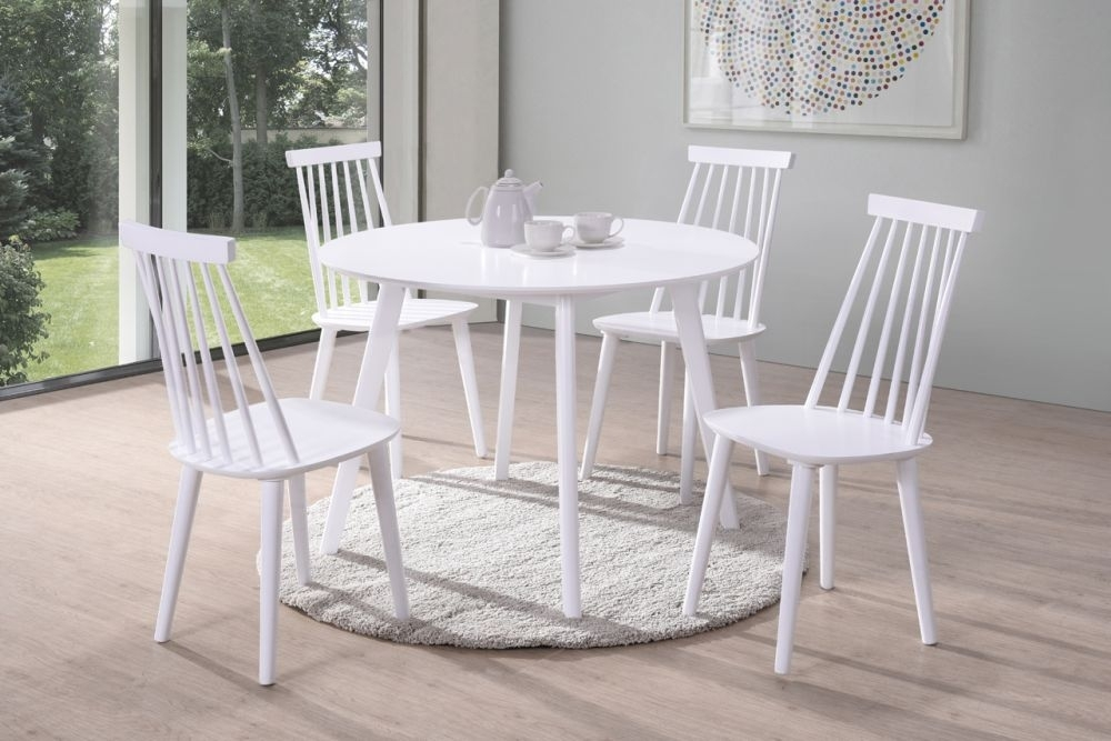 Vida Living Isla White Round Dining Set with 4 Spindle Chairs - 106cm