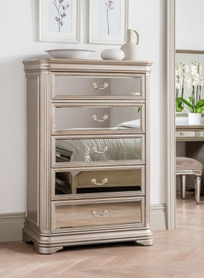 Vida Living Jessica Champagne Mirrored 5 Drawer Tall Chest