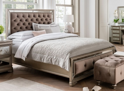 Vida Living Jessica Bed - Mirrored and Taupe Velvet