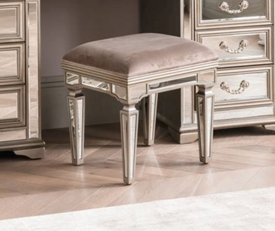 Vida Living Jessica Champagne Mirrored Dressing Table Stool