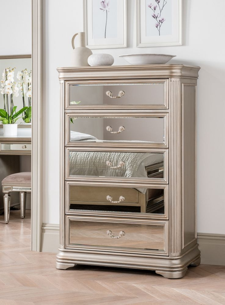 Vida Living Jessica 5 Drawer Tall Chest - Mirrored and Taupe