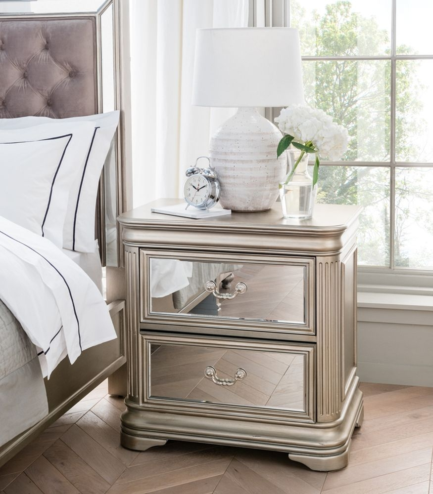Vida Living Jessica Bedside Cabinet - Mirrored and Taupe