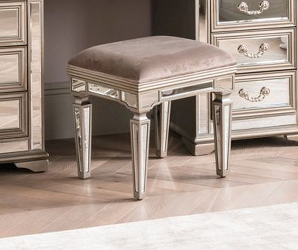 Vida Living Jessica Dressing Stool - Mirrored and Taupe Velvet