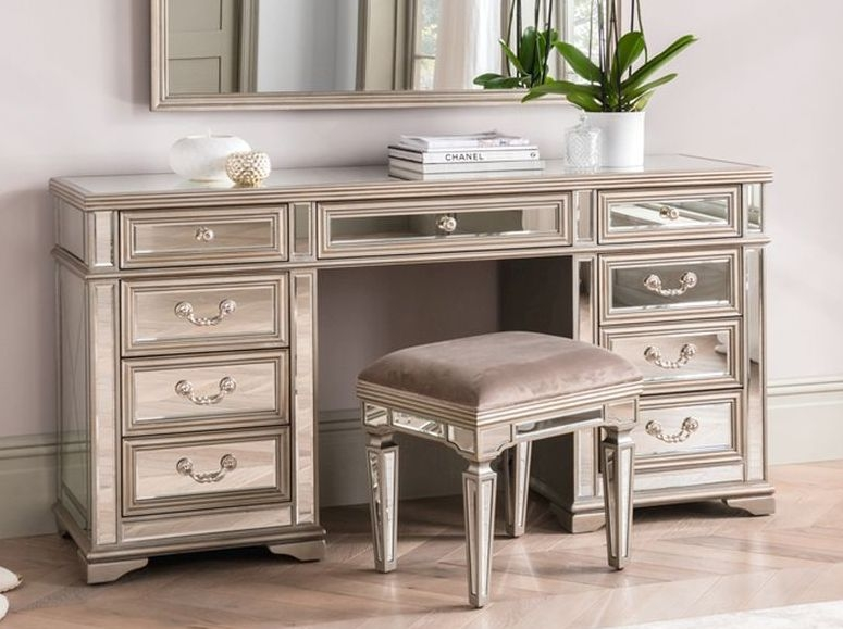 Vida Living Jessica Dressing Table - Mirrored and Taupe