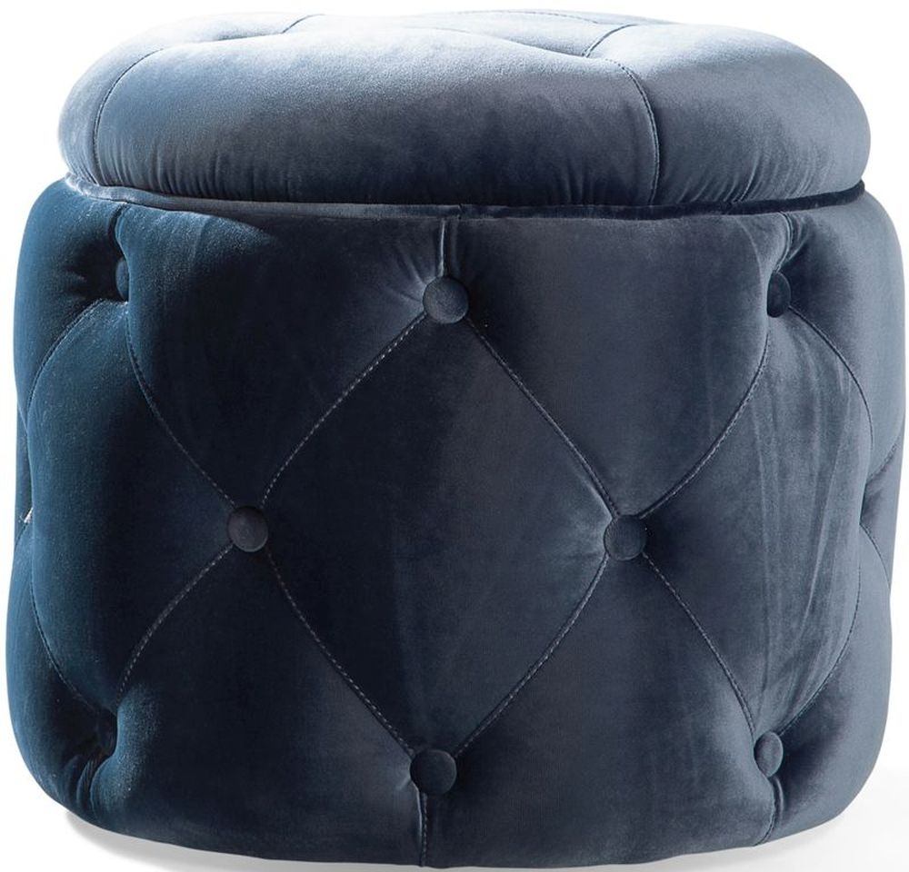 Product photograph showing Vida Living Jools Blue Velvet Footstool