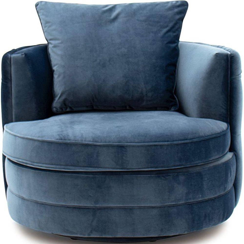 Vida Living Jools Blue Velvet Swivel Chair