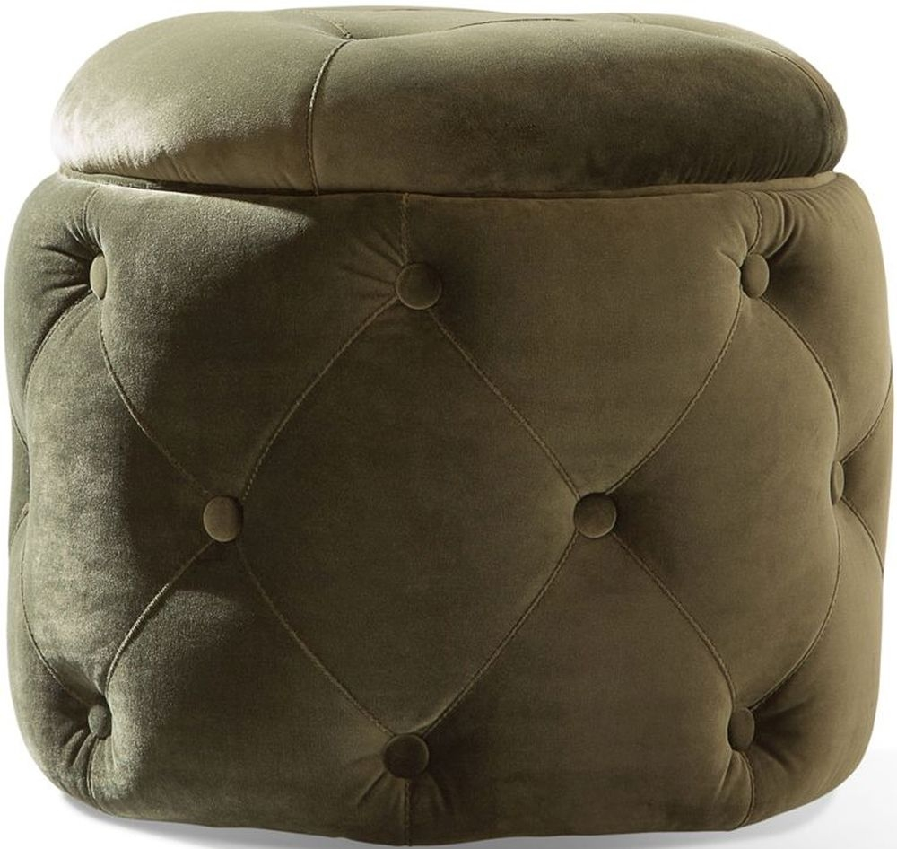 Product photograph showing Vida Living Jools Olive Velvet Footstool