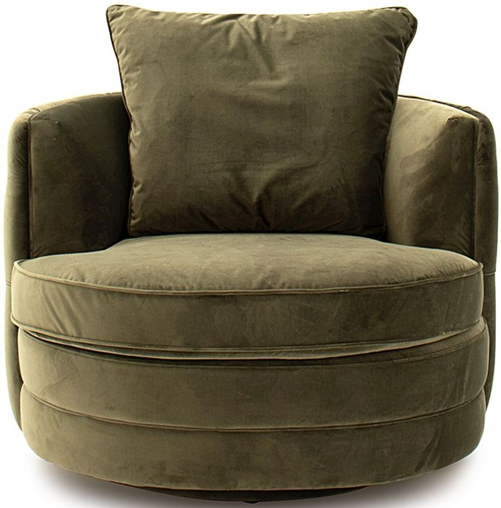 Vida Living Jools Olive Velvet Swivel Chair