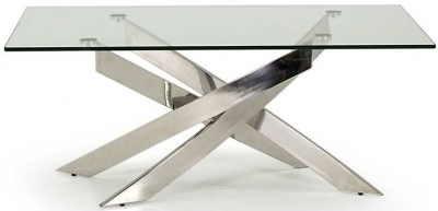 Vida Living Kalmar Glass and Chrome Coffee Table