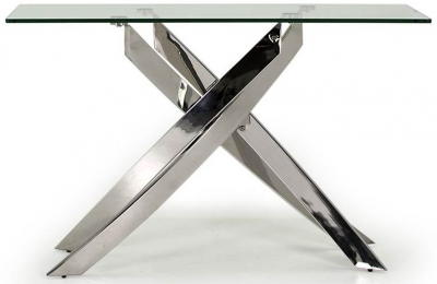 Vida Living Kalmar Glass and Chrome Console Table