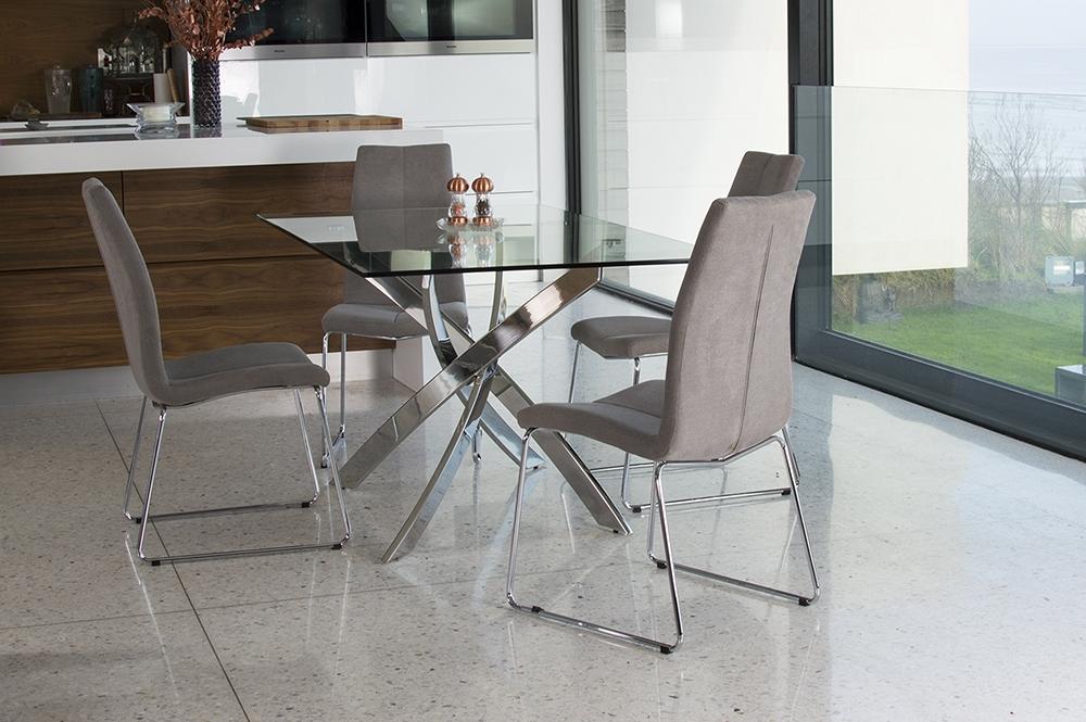 Vida Living Kalmar Glass Top 160cm Dining Table with 4 Evoque Chairs Grey - Rectangular