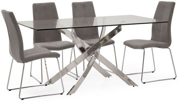 Vida Living Kalmar Glass Dining Table and 6 Evoque Chairs - Chrome and Grey