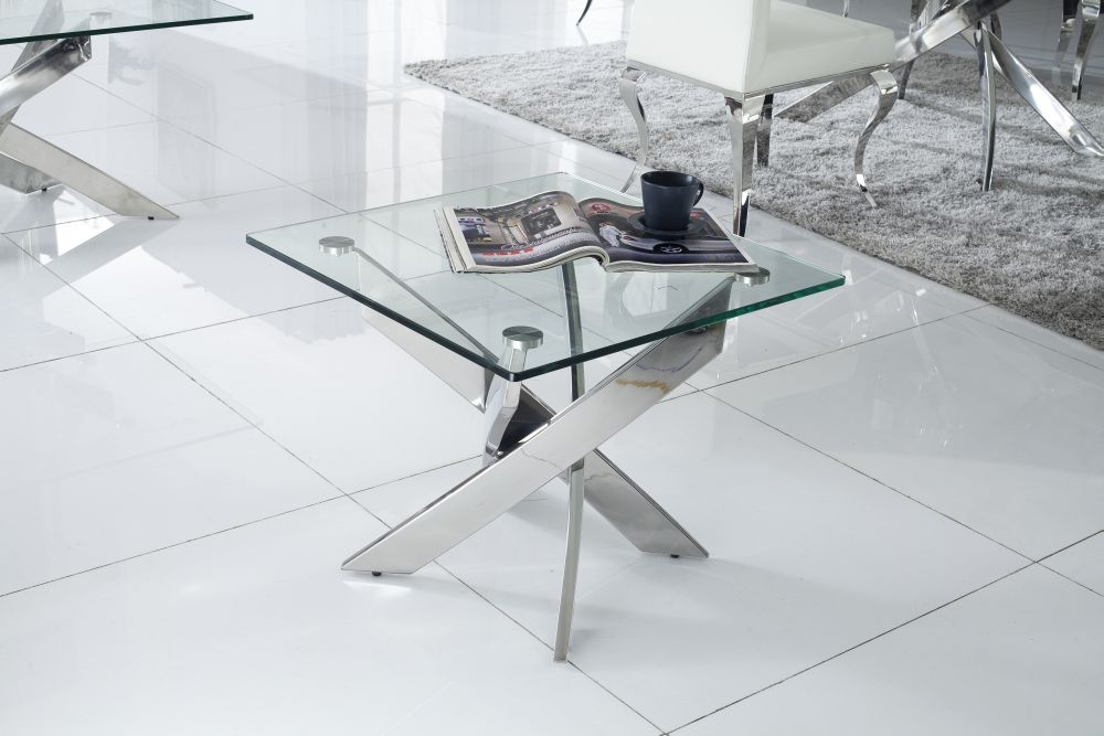 Vida Living Kalmar Glass Top Lamp Table