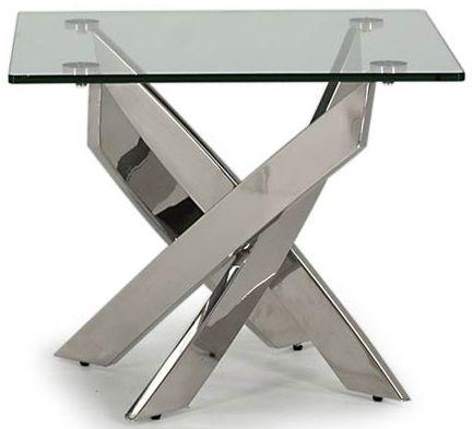 Vida Living Kalmar Glass and Chrome Lamp Table