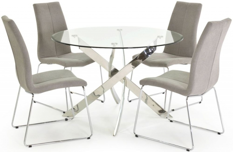 Vida Living Kalmar Glass Top 110cm Dining Set - Round with 4 Evoque Grey Chairs