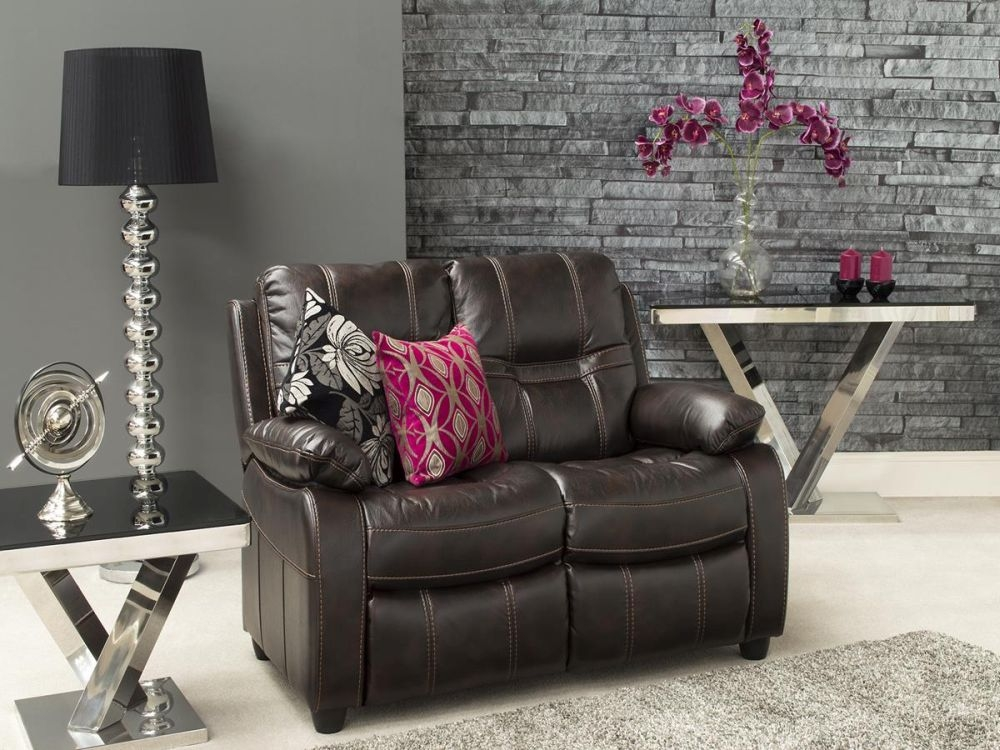Vida Living Kennedy 2 Seater Pellaria Fixed Sofa - Brown