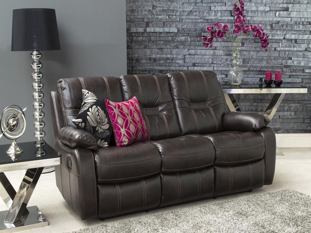 Vida Living Kennedy 3 Seater Pellaria Fixed Sofa - Brown