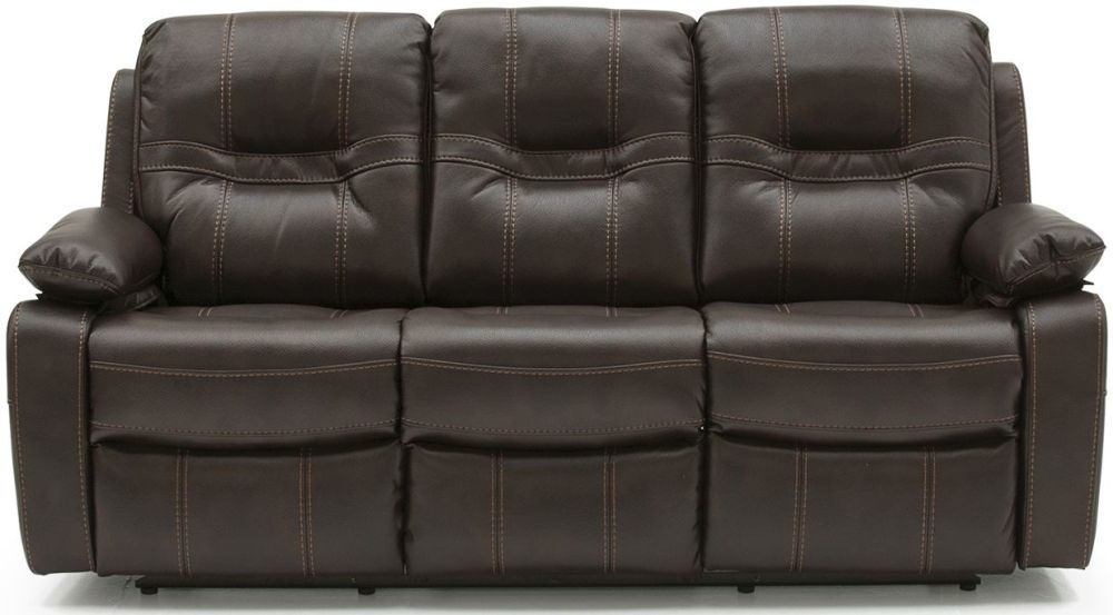 Vida Living Kennedy Brown Faux Leather 3 Seater Recliner Sofa
