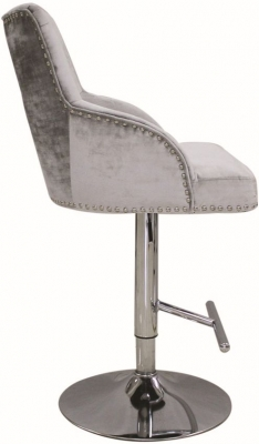 Vida Living Kikki Pewter Velvet Gas Lift Bar Stool