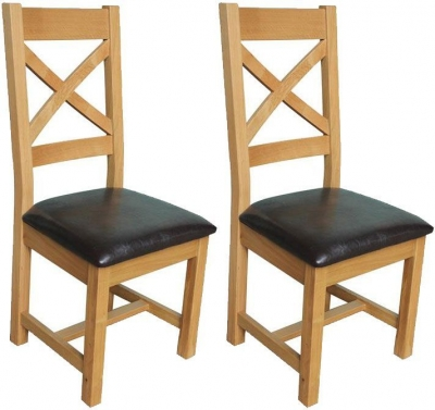 Vida Living Klara Oak Dining Chair - Cross Back (Pair)