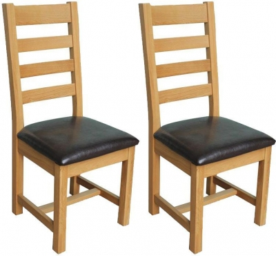 Vida Living Klara Oak Dining Chair - Ladder Back (Pair)