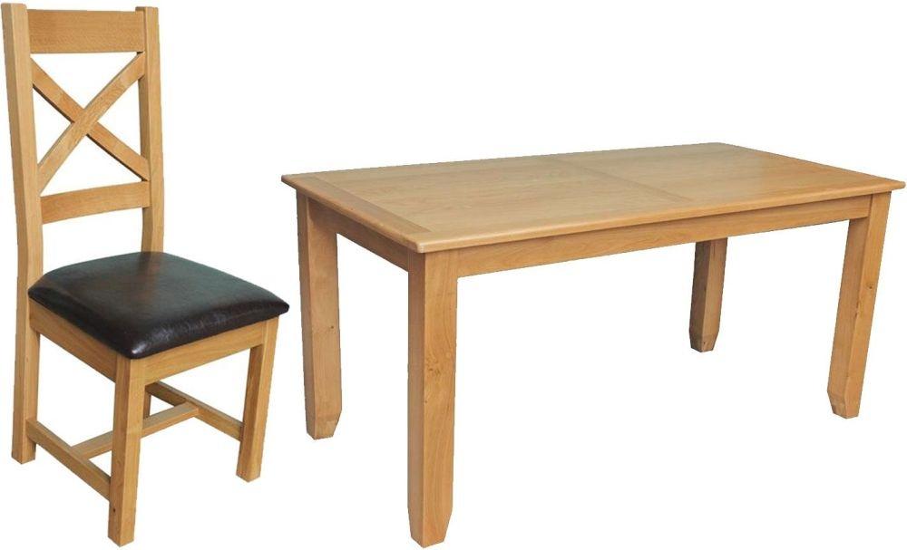 Vida Living Klara Oak Dining Set - Fixed with 4 Cross Back Dining Chairs
