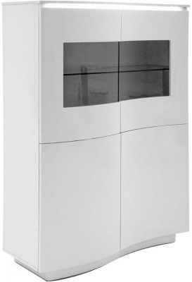 Vida Living Lazzaro White High Gloss Display Cabinet with LED