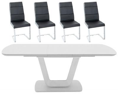 Vida Living Lazzaro 120cm-160cm Light Grey Matt Extending Dining Table and Malibu Black Faux Leather Chairs