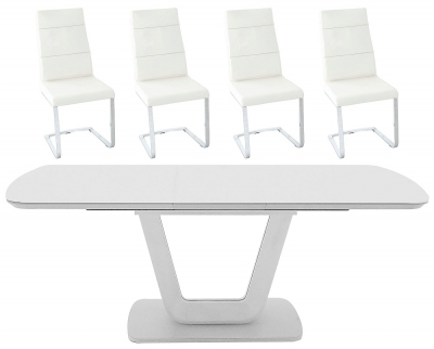 Vida Living Lazzaro 160cm-200cm White High Gloss Extending Dining Table and Malibu Cream Faux Leather Chairs