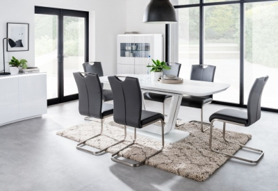 Vida Living Lazzaro 160cm-200cm White High Gloss Extending Dining Table and Grey Chairs