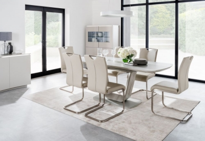 Vida Living Lazzaro 160cm-200cm White High Gloss Extending Dining Table and Taupe Chairs