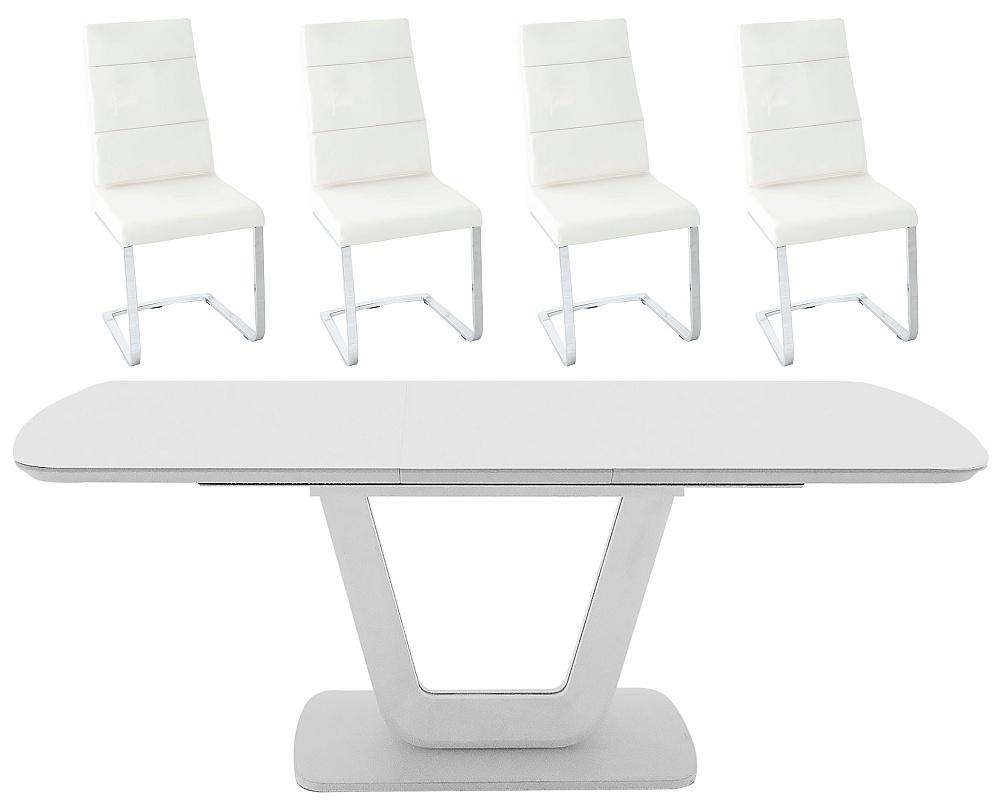 Vida Living Lazzaro 120cm-160cm Light Grey Matt Extending Dining Table and Malibu Cream Faux Leather Chairs