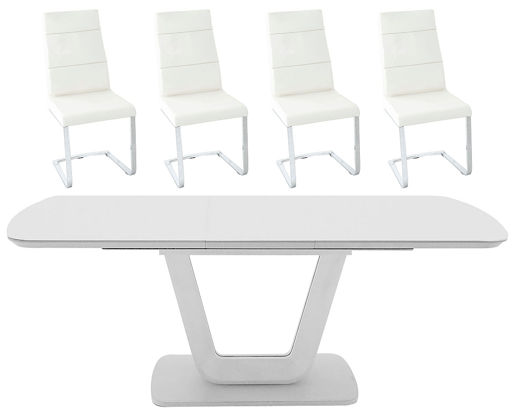 Vida Living Lazzaro 120cm-160cm White High Gloss Extending Dining Table and Malibu Cream Faux Leather Chairs