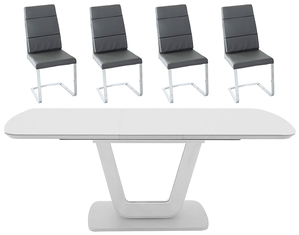 Vida Living Lazzaro 160cm-200cm Light Grey Matt Extending Dining Table and Malibu Grey Faux Leather Chairs