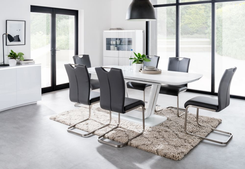 Admirable Vida Living Lazzaro Extending Dining Table And Chairs White Gloss And Grey Ncnpc Chair Design For Home Ncnpcorg