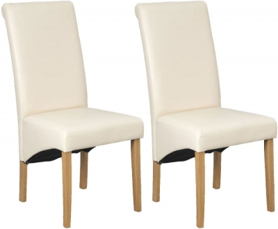 Vida Living Alfred Faux Leather Dining Chair - Cream with Oak Leg (Pair)