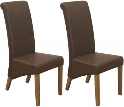 Vida Living Torino Faux Leather Dining Chair - Antique Brown with Oak Leg (Pair)