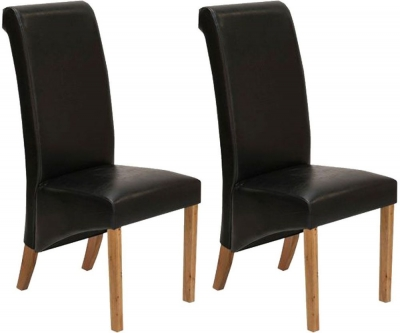 Vida Living Torino Faux Leather Dining Chair - Black with Oak Leg (Pair)
