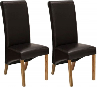 Vida Living Torino Faux Leather Dining Chair - Brown with Oak Leg (Pair)
