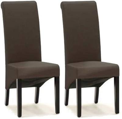 Vida Living Torino Faux Leather Dining Chair - Brown with Wenge Leg (Pair)