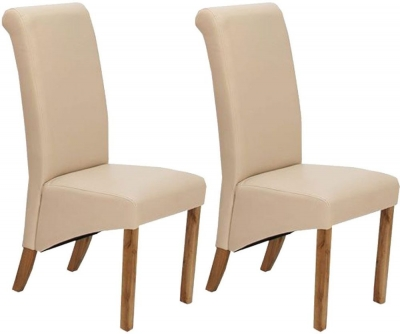 Vida Living Torino Faux Leather Dining Chair - Ivory with Oak Leg (Pair)