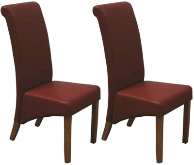 Vida Living Torino Faux Leather Dining Chair - Red with Oak Leg (Pair)