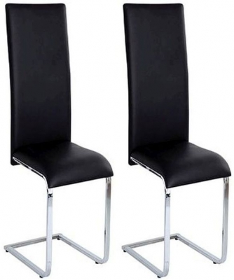 Vida Living Vetro Black Leather Dining Chair (Pair)