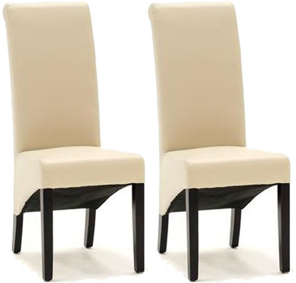 Vida Living Torino Faux Leather Dining Chair - Ivory with Wenge Leg (Pair)