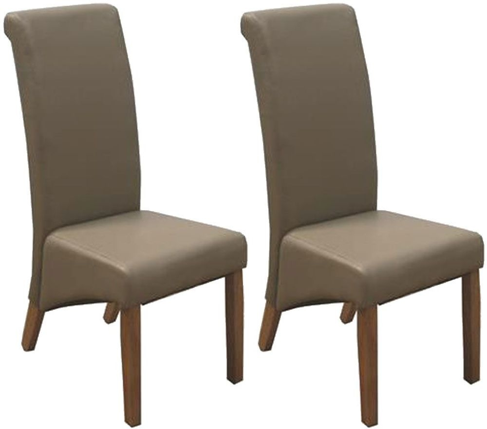 Buy Vida Living Torino Faux Leather Dining Chair Taupe With Oak Leg Pair