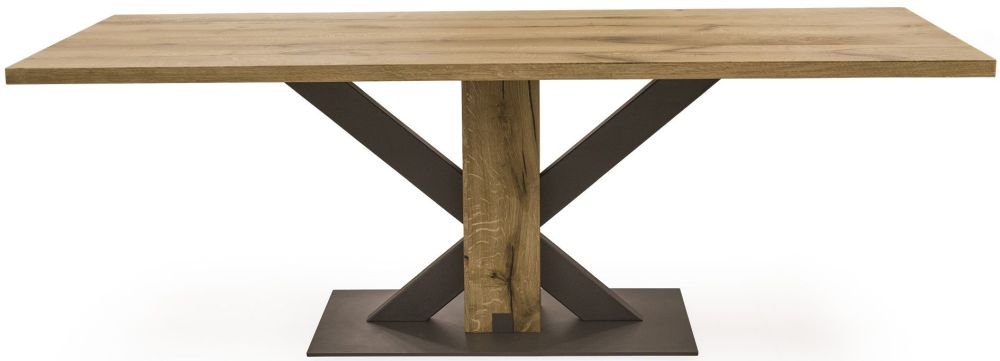 Vida Living Lindau Oak Rectangular Fixed Top Dining Table - 180cm