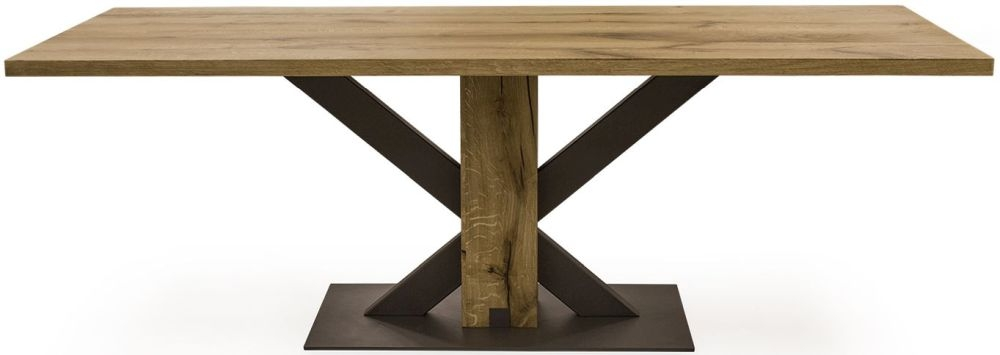 Vida Living Lindau Oak Dining Table - 220cm Rectangular Fixed Top