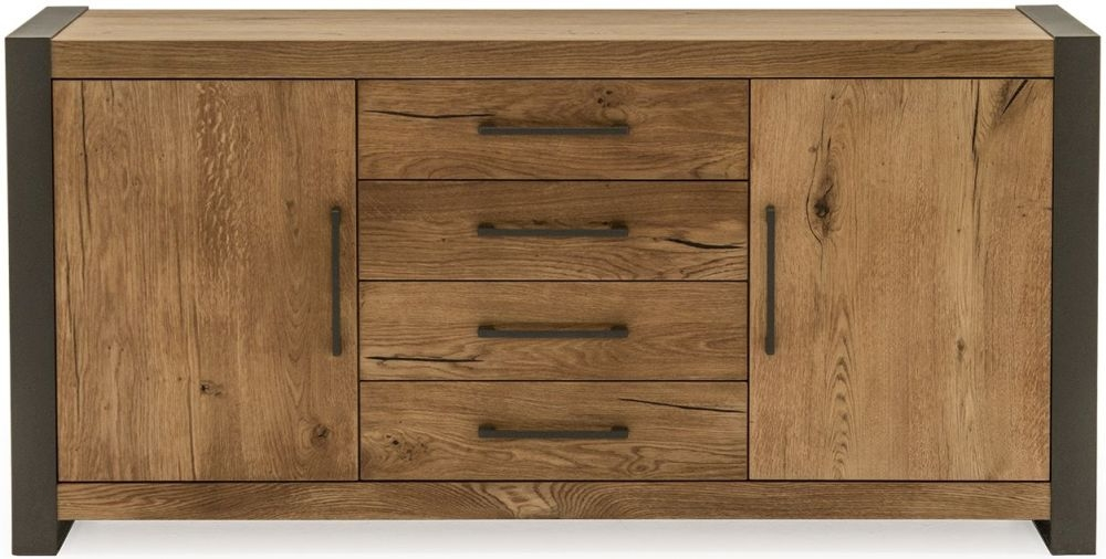 Vida Living Lindau Oak 2 Door 4 Drawer Wide Sideboard