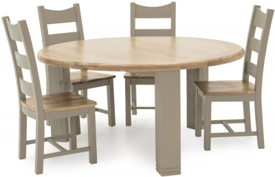Vida Living Logan Round Dining Table - Taupe and Oak Painted