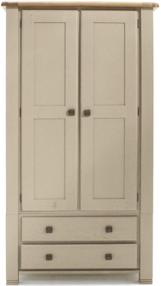 Vida Living Logan 2 Door Wardrobe - Taupe and Oak Painted